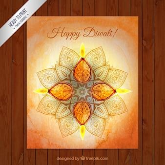 Tarjeta de felicitación de acuarela para Diwali