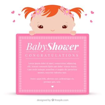 Tarjeta de felicitación de color rosa para bienvenida del bebé