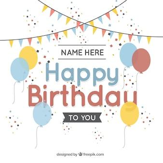 Tarjeta de felicitación de cumpleaños con globos