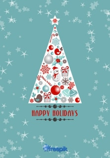 Tarjeta de felicitación de Felices fiestas de árbol de Navidad con objetos navideños en el interior