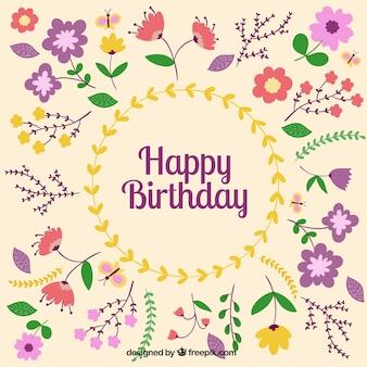 Tarjeta de felicitación floral de cumpleaños