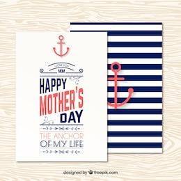 Tarjeta de felicitación náutica del día de la madre