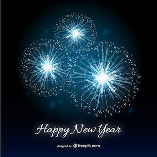 Tarjeta de feliz Año Nuevo con fuegos artificiales