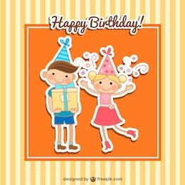 Tarjeta de feliz cumpleaños con niños