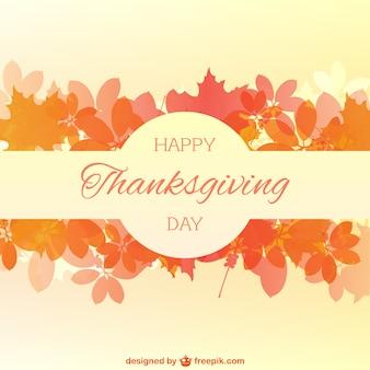 Tarjeta de feliz día de acción de gracias con hojas de otoño