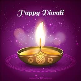 Tarjeta de feliz Diwali con vela