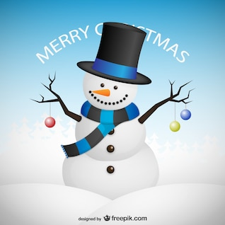Tarjeta de Feliz Navidad con muñeco de nieve