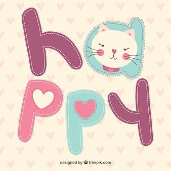 Tarjeta de gato feliz esbozado