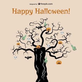 Tarjeta de Halloween con árbol