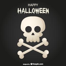 Tarjeta de Halloween con calavera y huesos