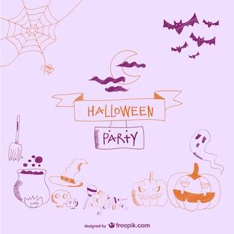 Tarjeta de Halloween con dibujos simples