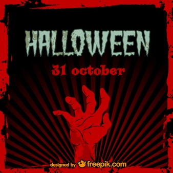 Tarjeta de Halloween con mano de zombie