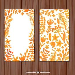 Tarjeta de hojas de acuarela