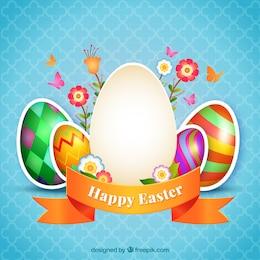 Tarjeta de huevos de pascua decorados