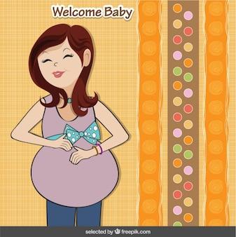 Tarjeta de la bienvenida del bebé con la feliz embarazada
