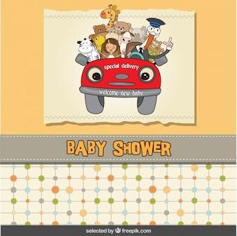 Tarjeta de la bienvenida del bebé con un coche de dibujos animados