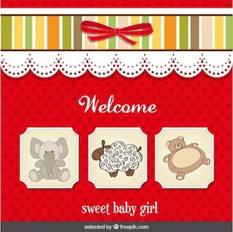Tarjeta de la bienvenida del bebé para la niña dulce