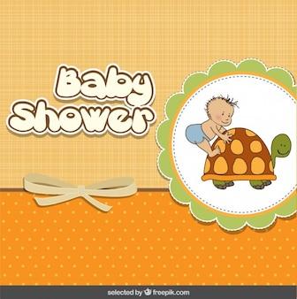 Tarjeta de la ducha de bebé con el bebé y la tortuga