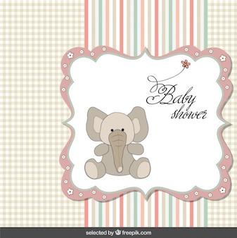 Tarjeta de la ducha de bebé con el elefante en tonos pastel