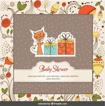 Tarjeta de la ducha de bebé con el gato y fondo floral