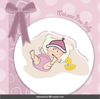 Tarjeta de la ducha de bebé con el lazo y el bebé divertido