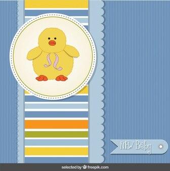 Tarjeta de la ducha de bebé con el pato divertido