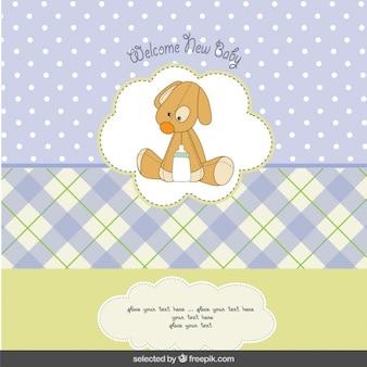 Tarjeta de la ducha de bebé con el perro de peluche