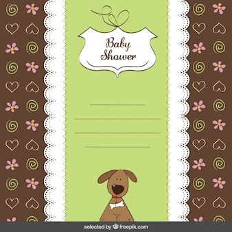 Tarjeta de la ducha de bebé con el perro lindo
