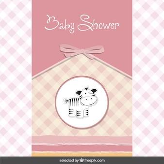 Tarjeta de la ducha de bebé con la cebra linda
