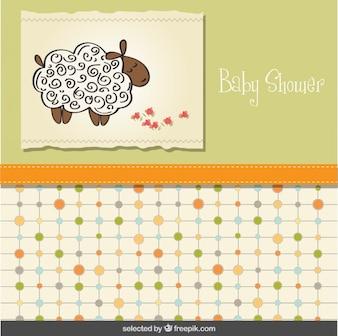 Tarjeta de la ducha de bebé con las ovejas