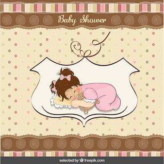 Tarjeta de la ducha de bebé con un bebé somnoliento encantadora