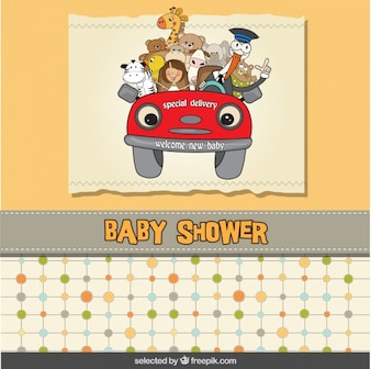Tarjeta de la ducha de bebé con un coche de la historieta