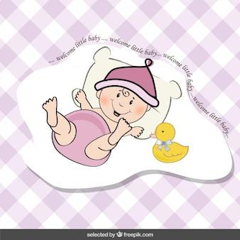 Tarjeta de la ducha del bebé con el bebé divertido y pato