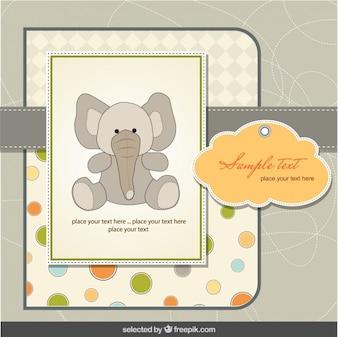Tarjeta de la ducha del bebé con el elefante en el estilo del libro