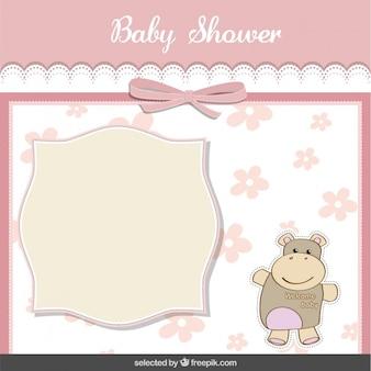 Tarjeta de la ducha del bebé con el hipopótamo lindo