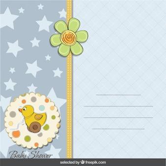 Tarjeta de la ducha del bebé con el pato de juguete, estrellas y flores