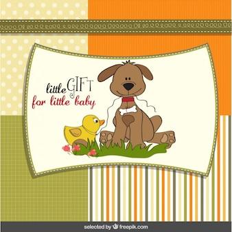 Tarjeta de la ducha del bebé con el perro encantador y el pato