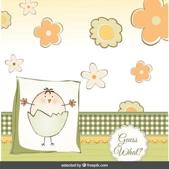 Tarjeta de la ducha del bebé con el polluelo lindo