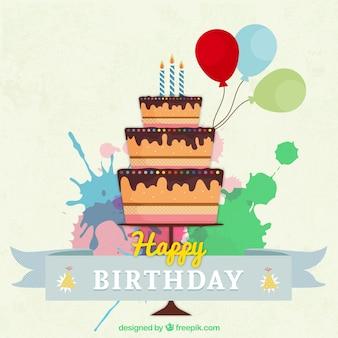Tarjeta de la tarta de cumpleaños