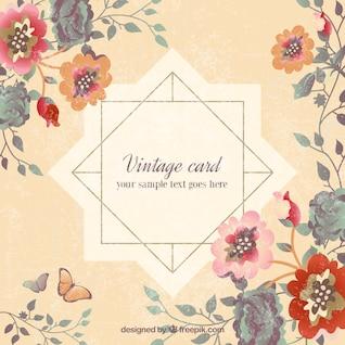 Tarjeta de la vendimia en estilo floral