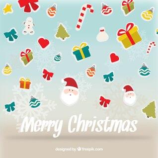 Tarjeta de Navidad con adornos planos