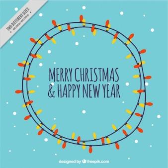 Tarjeta de Navidad con bombillas de colores