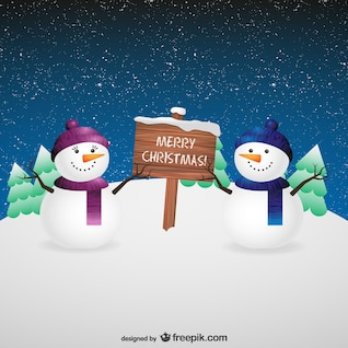 Tarjeta de Navidad con muñecos de nieve
