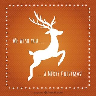 Tarjeta de Navidad con renos silueta