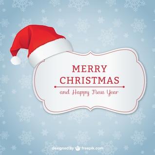 Tarjeta de Navidad elegante con sombrero de Papá Noel