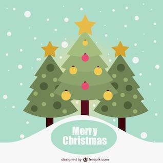 Tarjeta de Navidad plana con árboles