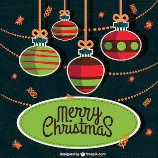 Tarjeta de Navidad plana con bolas