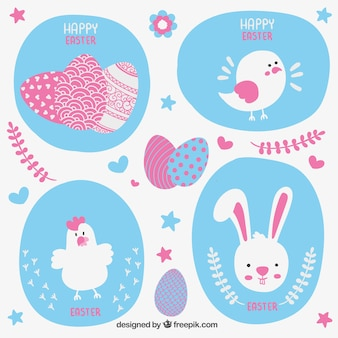 Tarjeta de Pascua con animales lindos