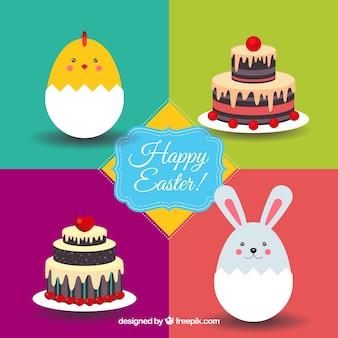 Tarjeta de Pascua con animales y tartas