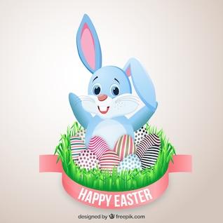 Tarjeta de Pascua con conejito lindo y huevos decorados